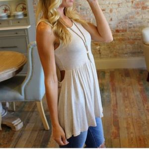 Tops - Oatmeal Tank with Built in Bandeau